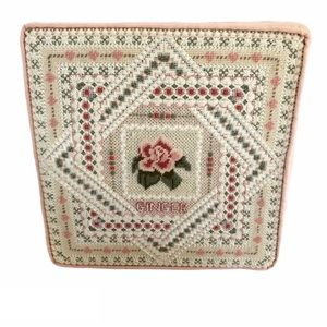 Vintage 80's Embroidered Needlepoint Square Pillow